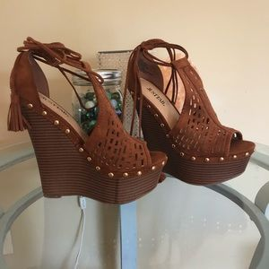 Brown studded wrap around your ankle wedges